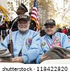 NEW YORK - NOVEMBER 11: Korean War veterans Joe Louis and Erwin Burkert attend opening ceremony Veteran's Day Parade in Madison Square Park on November 11, 2012 in New York City - stock photo