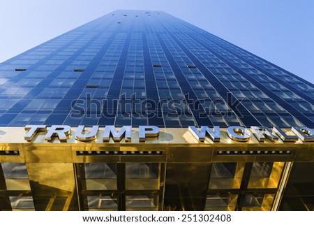 NEW YORK-NOVEMBER 24 - Looking up at the Trump World Tower on  November 24 2011 in New York City. - stock photo