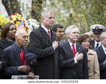 NEW YORK - NOVEMBER 11 2015: Mayor Bill De Blasio, Ray Mabus, US Secretary of the Navy (SECNAV) and other VIP at wreath laying ceremony in Madison Square Park before the Americas Parade, Veterans Day. - stock photo