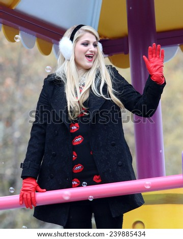 NEW YORK - NOVEMBER 27: Meghan Trainor appears at the 88th Annual Macy's Thanksgiving Day Parade on November 27, 2014 in New York City. - stock photo