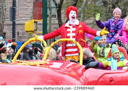 NEW YORK - NOVEMBER 27: Ronald McDonald appears at the 88th Annual Macy's Thanksgiving Day Parade on November 27, 2014 in New York City. - stock photo