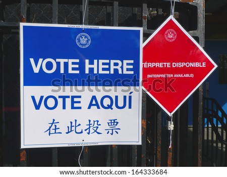 NEW YORK - NOVEMBER 5: Signs at the voting site in New York on November 5, 2013.The Voting Rights Act of 1965 is a national legislation in the United States that prohibits discrimination in voting - stock photo