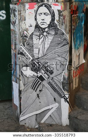 NEW YORK - NOVEMBER 3, 2015: Street art at Lower East Side in Manhattan