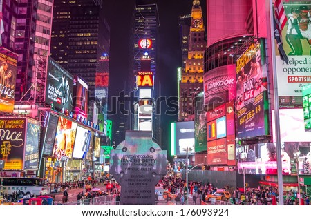 NEW YORK - NOVEMBER 22, 2013: Times Square by night,New York.Times Square is a symbol of New York City and the United States