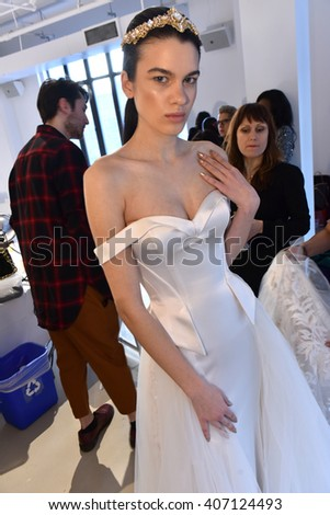 NEW YORK, NY - APRIL 14: A model poses during the Galia Lahav Bridal Fashion Week Spring/Summer 2017 presentation on April 14, 2016 in New York City.