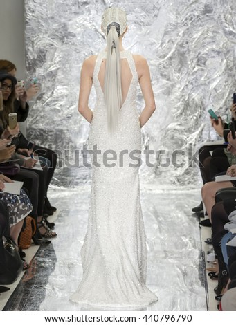 NEW YORK, NY - APRIL 14, 2016: A model walks the runway at the Theia Spring/Summer 2017 Bridal Collection at the Theia Showroom