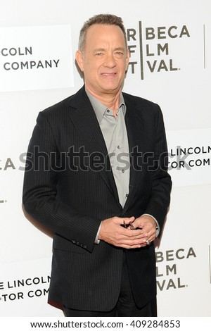 NEW YORK, NY - APRIL 20: Actor Tom Hanks attends the World Premiere of 'A Hologram for the King' at the 2016 Tribeca Film Festival at BMCC Tribeca Performing Arts Center on April 20, 2016 in NYC.