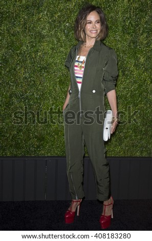 NEW YORK, NY - APRIL 18, 2016: Actress Allison Sarofim attends the 11th Annual Chanel Tribeca Film Festival Artists Dinner at Balthazar - stock photo