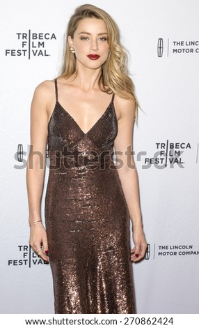 NEW YORK, NY - APRIL 18: Actress Amber Heard attends 2015 Tribeca Film Festival - World Premiere Narrative: 'When I Live My Life Over Again' at SVA Theater 1 - stock photo