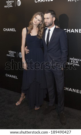 NEW YORK, NY - APRIL 26, 2014: Adam Levine and Behati Prinsloo attend the closing night gala premiere of 'Begin Again' during the 2014 Tribeca Film Festival at BMCC Tribeca PAC