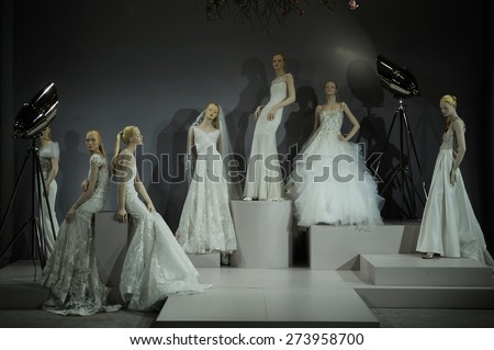 NEW YORK, NY - APRIL 20: Bridal dresses on the mannequins is seen at A Toast To Tony Ward: A Special Bridal Collection at Kleinfeld on April 20, 2015 in NYC. - stock photo
