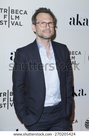 New York, NY - April 16, 2015: Christian Slater attends Tribeca Film Festival premiere of The Adderall Diaries film at BMCC Tribeca Performing Arts Center - stock photo