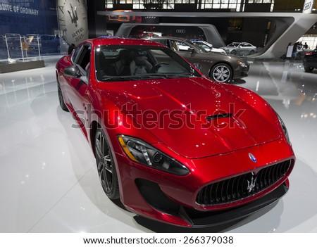 New York, NY - April 2, 2015: Exterior of Maserati Granturismo car on display at New York International Auto Show at Javits Center - stock photo