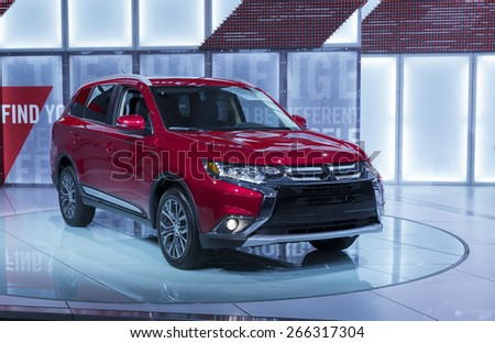 New York, NY - April 2, 2015: Exterior of Mitsubishi Outlander SUV on display at New York International Auto Show at Javits Center - stock photo