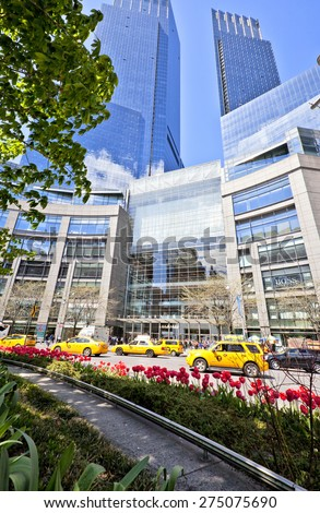 NEW YORK, NY - APRIL 29, 2015: Infamous 59th street Columbus Circle attraction in NYC, NY. - stock photo