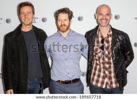 NEW YORK, NY - APRIL 27: (L-R) Edward Norton, Director David Sampliner, and Executive Producer Bill Migliore attend the premiere of 'My Own Man' during the 2014 Tribeca Film Festival at SVA Theater - stock photo