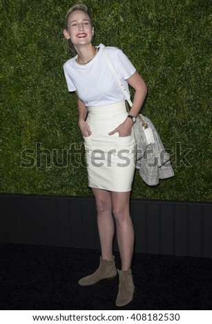 NEW YORK, NY - APRIL 18, 2016: Leelee Sobieski attends the 11th Annual Chanel Tribeca Film Festival Artists Dinner at Balthazar - stock photo