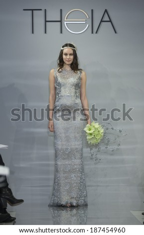 NEW YORK, NY - APRIL 10, 2014: Model walks runway for Theia collection by Don O'Neill during at bridal week at 1412 Broadway studio