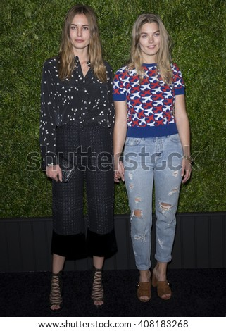 NEW YORK, NY - APRIL 18, 2016: Models Nadja Bender (L) and Christine Johansen attend the 11th Annual Chanel Tribeca Film Festival Artists Dinner at Balthazar