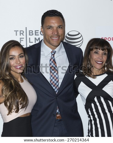 New York, NY - April 16, 2015: October Gonzalez, Tony Gonzalez and Judy Gonzalez attend Tribeca Film Festival premiere of Play it Forward film at BMCC Tribeca Performing Arts Center