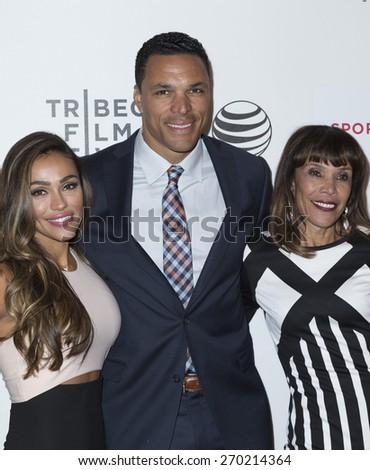 New York, NY - April 16, 2015: October Gonzalez, Tony Gonzalez and Judy Gonzalez attend Tribeca Film Festival premiere of Play it Forward film at BMCC Tribeca Performing Arts Center - stock photo