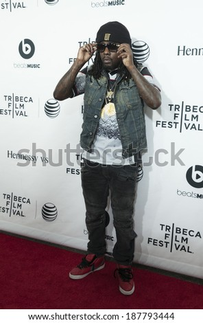 NEW YORK, NY - APRIL 16, 2014: Rapper Wale attends the 'Time Is Illmatic' Opening Night Premiere during the 2014 Tribeca Film Festival at The Beacon Theatre - stock photo