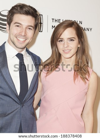 NEW YORK, NY - APRIL 20, 2014: Roberto Aguire and Emma Watson attend premiere Boulevard movie during 2014 Tribeca Film Festival at BMCC Tribeca PAC