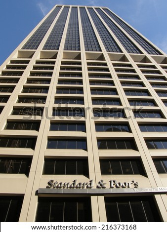 NEW YORK, NY - APRIL 25: Standard & Poor's headquarters in Lower Manhattan, New York City, as seen on April 25, 2009. The company s a division of McGraw Hill Financial. - stock photo