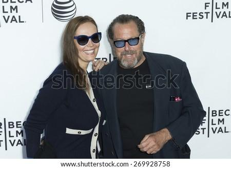 New York, NY - April 15, 2015: Tatiana Lisovskaya and artist Julian Schnabel attend Tribeca Film Festival opening night screening of Live From New York at Beacon Theater - stock photo