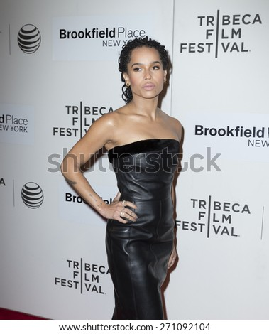 New York, NY - April 19, 2015: Zoe Kravitz attends Tribeca Film Festival premiere of Good Kill film at BMCC Tribeca Performing Arts Center