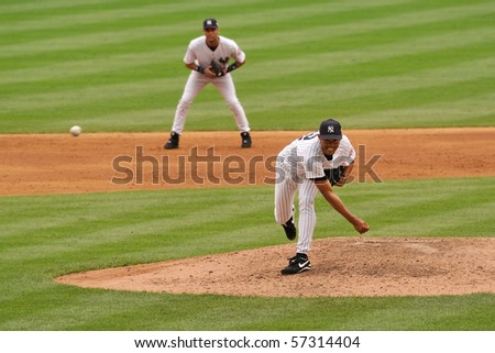 NEW YORK, NY - AUG. 7: Mariano Rivera is seen at on the pitchers mound in Yankee Stadium on August 7, 2003 in New York, NY.