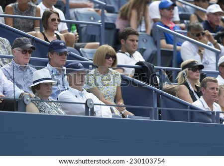 NEW YORK, NY - AUGUST 31, 2014: Anna Wintour attends 4th round match between Caroline Wozniacki of Denmark & Maria Sharapova of Russia at US Open tennis tournament in Flushing Meadows USTA - stock photo