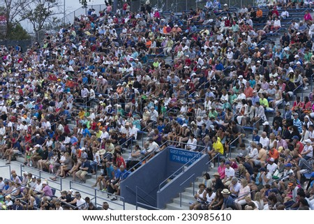NEW YORK, NY - AUGUST 30, 2014: Fans attend 2nd round match between Bryan brothers of USA & Jared Donaldson & Michael Russell of USA at US Open tennis tournament in Flushing Meadows USTA Tennis Center