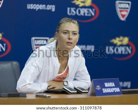 New York, NY - August 29, 2015: Maria Sharapova of Russia attends press conference at US Open Championship in Arthur Ash Stadium - stock photo