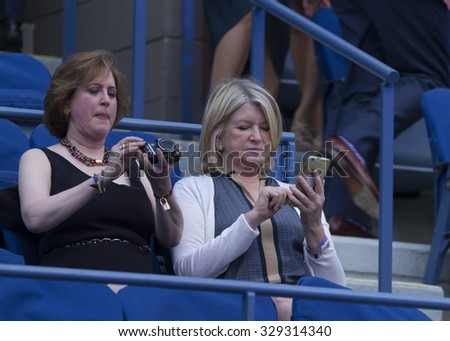 New York, NY - August 31, 2015: Martha Stewart attends Opening ceremony of US Open Championship at Arthur Ash stadium - stock photo