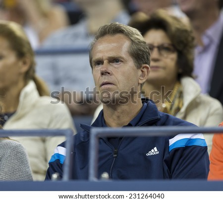 NEW YORK, NY - AUGUST 29, 2014: Stefan Edberg attends 2nd round match between Roger Federer of Switzerland & Sam Groth of Australia at US Open tennis tournament in Flushing Meadows USTA Tennis Center
