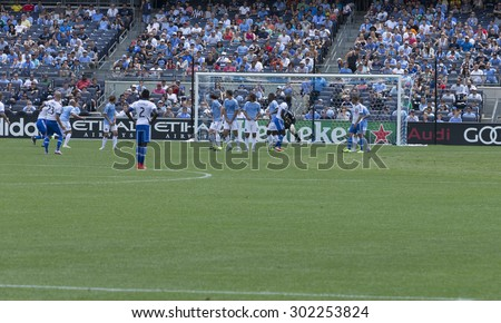 New York, NY - August 1, 2015: Team Montreal Impact attacks during game between New York City FC and Montreal Impact at Yankee Stadium