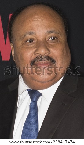 NEW YORK, NY - DECEMBER 14, 2014: Martin Luther King III (R) attends the 'Selma' New York Premiere at the Ziegfeld Theater