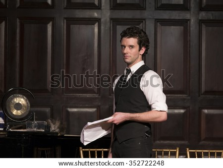 New York, NY - December 13, 2015: Michael Urie performs Clue by Jonathan Lynn On 30th anniversary of film on stage at Players Club - stock photo