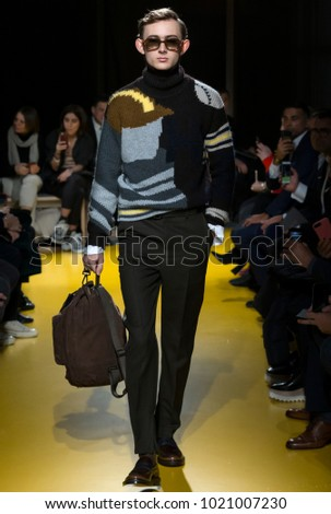 NEW YORK, NY - Feb 07, 2018: A model walks the runway at the Boss Menswear Show during New York Fashion Week Men's F/W 2018