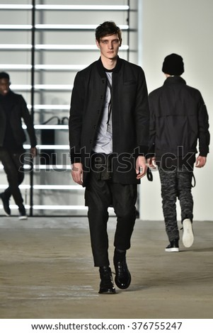 NEW YORK, NY - FEBRUARY 04: A model walks runway during the John Elliott + CO New York Fashion Week Men's Fall/Winter on February 4, 2016 in NYC.