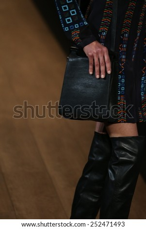 NEW YORK, NY - FEBRUARY 12: A model walks the runway at BCBGMAXAZRIA fashion show during Mercedes-Benz Fashion Week Fall 2015 at Lincoln Center on February 12, 2015 in New York City