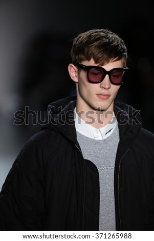 NEW YORK, NY - FEBRUARY 01: A model walks the runway at Concept Korea's DBYD 2016 F/W Collection during New York Fashion Week Men's Fall/Winter 2016 on February 1, 2016 in New York City.