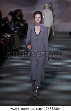 NEW YORK, NY - FEBRUARY 13: A model walks the runway at Marc Jacobs during Mercedes-Benz Fashion Week Fall 2014 at Lexington Avenue Armory on February 13, 2014 in New York City.