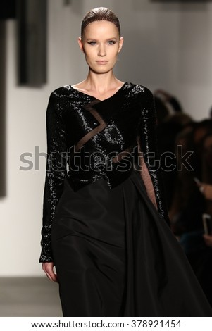 NEW YORK, NY - FEBRUARY 12: A model walks the runway at Pamella Roland fashion show during Fall 2016 New York Fashion Week on February 12, 2016 in NYC. - stock photo