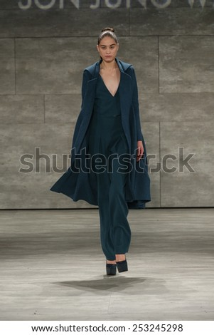 NEW YORK, NY - FEBRUARY 14: A model walks the runway at Son Jung Wan fashion show during Mercedes-Benz Fashion Week Fall 2015 at Lincoln Center on February 14, 2015 in New York City - stock photo