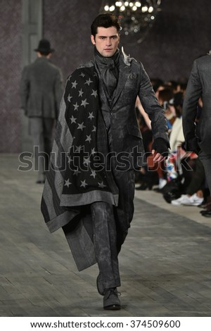NEW YORK, NY - FEBRUARY 02: A model walks the runway at the Joseph Abboud Runway Show during New York Fashion Week Men's Fall/Winter 2016 on February 2, 2016 in NYC.