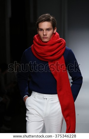 NEW YORK, NY - FEBRUARY 02: A  model walks the runway at the Nautica Men's Fall 2016 fashion show during New York Fashion Week Men's Fall/Winter 2016 on February 2, 2016 in NYC. - stock photo