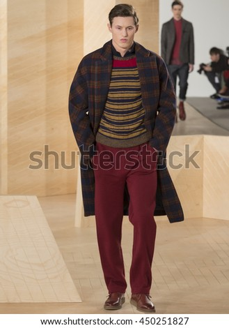 NEW YORK, NY - FEBRUARY 03, 2016: A model walks the runway at the Perry Ellis Men's Fall 2016 fashion show during New York Fashion Week Men's