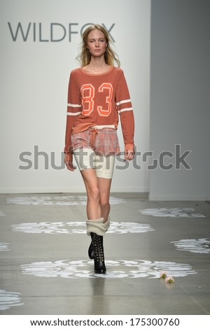 NEW YORK, NY - FEBRUARY 05: A model walks the runway at Wildfox at Pier 59 on February 5, 2014 in New York City.